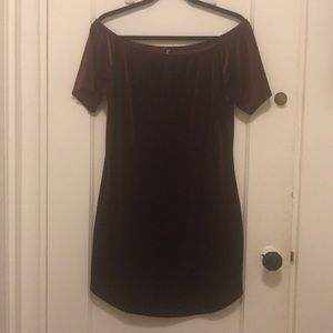 Bordeaux Wine Velvet Off Shoulder Dress Plus Size